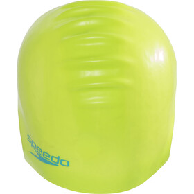 speedo Plain Moulded Silicone Cap Juniors Lime/Turquoise